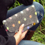 Neat Little Grey Polka-dot Purse With Ceramic Button Detail, By Shoreline - Parade Handmade