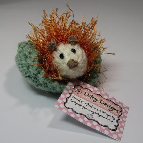Orange Hedgehog on His Little Green Leaf, By Ditsy Designs - Parade Handmade