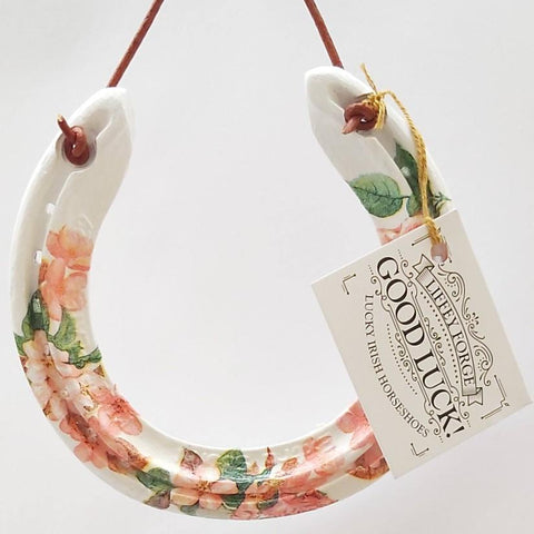 Peachy/Pink Floral Recycled Horseshoe  By Liffey Forge - Parade Handmade