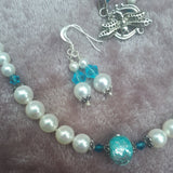 Pearl Necklace with Turquoise Crystal, by Lapanda Designs - Parade Handmade