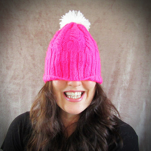 Pink Cable Hat With White Bobble, By Shoreline - Parade Handmade