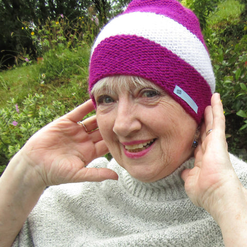 Pink and White Cosy Hat, By Shoreline - Parade Handmade