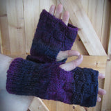 Purple Plum Handknit Aran Wrist Warmers. Mens XXL, By Bridie Murray - Parade Handmade