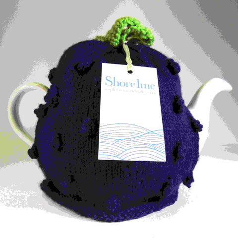 Purple Tea Cosy With Blackberry Aran Stitch, by Shoreline - Parade Handmade