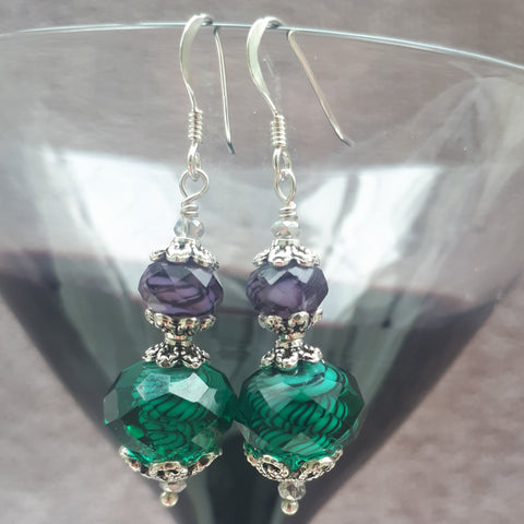 Purple and Green Drop Crystal Earrings, By Lapanda Designs - Parade Handmade