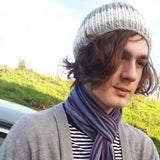 RA7 Beanie For Guys In Grey With A White Stripe, By Rose Coen - Parade Handmade