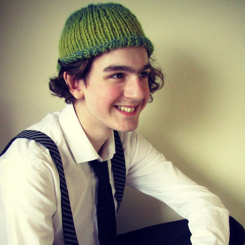 RA7 Beanie For Guys In Lime Green Tones, By Rose Coen - Parade Handmade