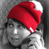 Red Handknit Wooly Hat With White Bobble, Hats By Shoreline - Parade Handmade