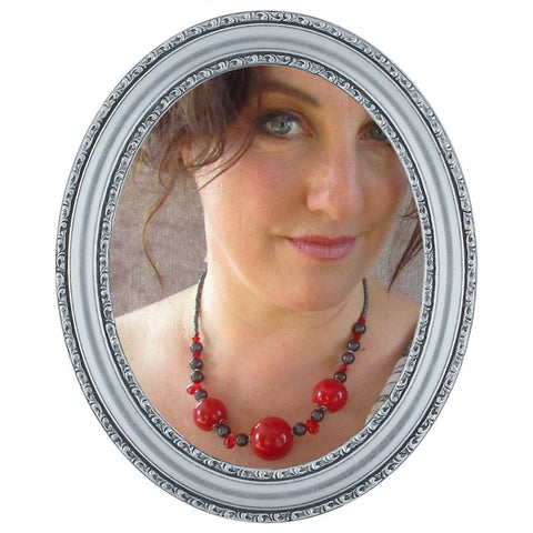 Red & Grey Statement Necklace, By Lapanda Designs - Parade Handmade