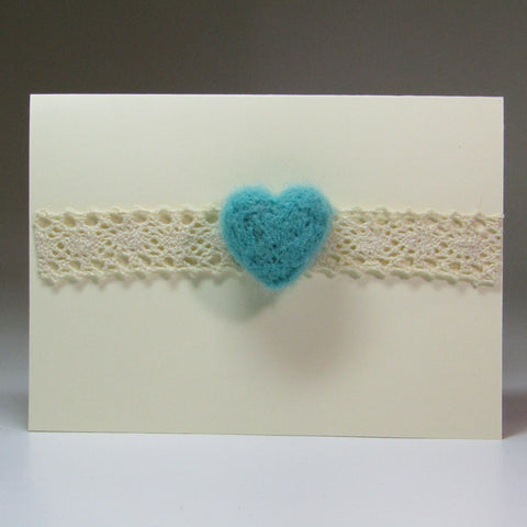 Simple, Felted Heart Card with Lace, by Rubi - Parade Handmade