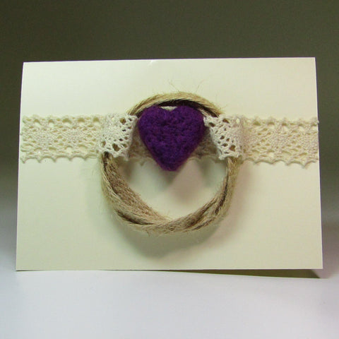 Simple, Felted, Lacy Heart Card, by Rubi - Parade Handmade