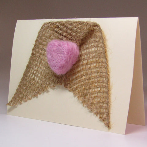Simple, Hand Felted, 3D Heart Card, by Rubi - Parade Handmade