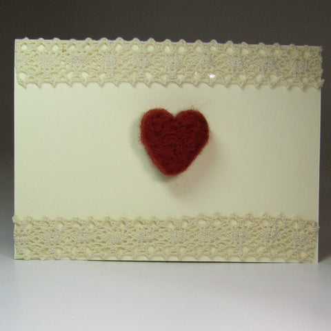 Simple, handmade Felted Heart Card with Lace, By Rubi - Parade Handmade