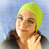 Snug Lime Green Turban Style Hat, By Jo's Knits - Parade Handmade