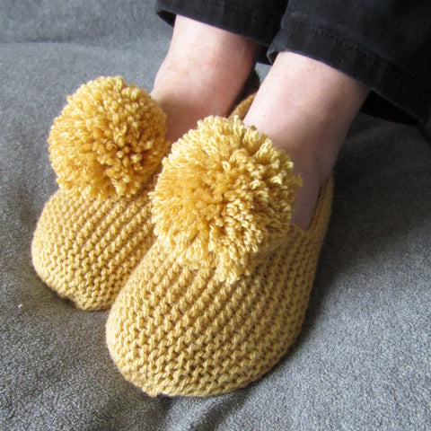 Snug Mustard Hand Knit Slippers, By Shoreline - Parade Handmade