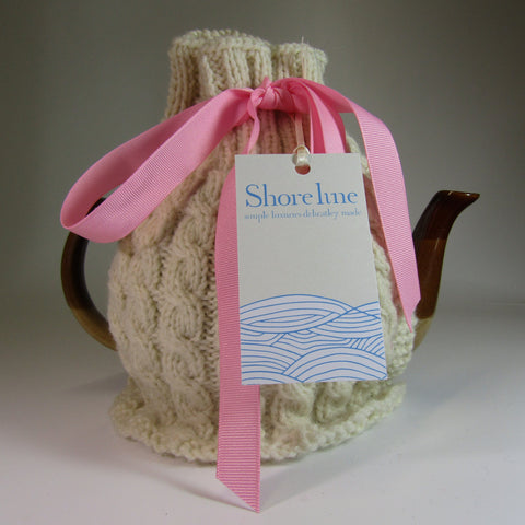 Snug, Natural White, Handknit, Irish Aran, Tea Cosy, by Shoreline. - Parade Handmade