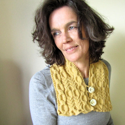 Sophisticated Mustard Aran Neckwarmer, By Shoreline - Parade Handmade