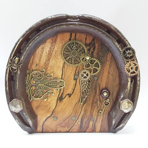 Steampunk Fairy Door With Spider, Cogs and Wing Charms, By Liffey Forge - Parade Handmade