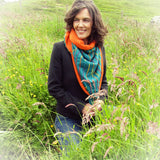 Striking Casual Scarf, Green/Orange, By JaDa Crafts Ireland - Parade Handmade