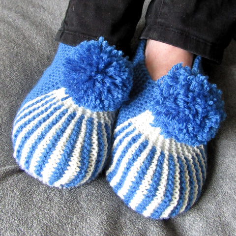 Striped Blue and White Slippers With Bobble, By Shoreline - Parade Handmade