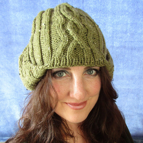Stylish & Cosy Moss Green Wooly Hat, By Jo's Knits - Parade Handmade