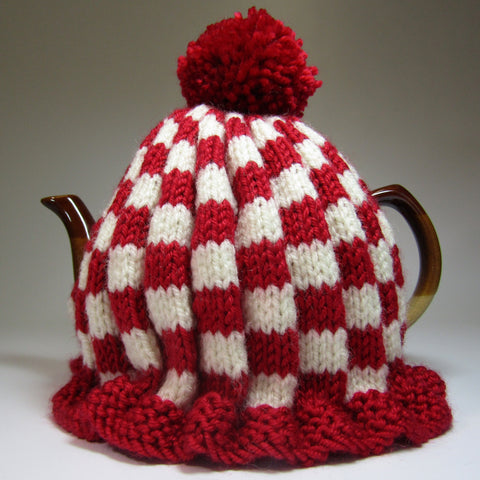 Super cute, red and white, Tea Cosy, by Shoreline. - Parade Handmade