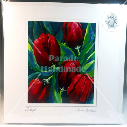 Tulip Greeting Art Card, By Jane Dunn - Parade Handmade