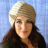 Turban Style Hand Knitted Hat In Cream & Dark Beige, By Jo's Knits - Parade Handmade