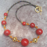Upcycled Vintage Red Wood Bead Necklace, By Lapanda designs - Parade Handmade