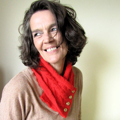 Vibrant Red Aran Neckwarmer, By Shoreline - Parade Handmade