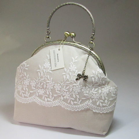 Vintage Style Handbag, Cream with Handle, By Kira Szentivanyi - Parade Handmade