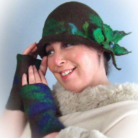 Whimsical Felt Hat In Brown, Floral Brooch Detail, Med, Hats By Parade - Parade Handmade