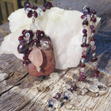 Wild Sea Dream Pendant. Garnet, Rose Quartz and Pearl With Earring Set, By Lapanda Designs - Parade Handmade
