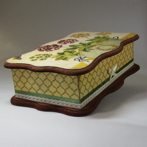 Wooden Box, With Vintage Florals, By Kira Szentivanyi - Parade Handmade