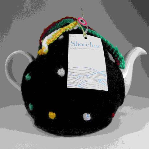 Woolly Black Tea Cosy With Coloured Dots, by Shoreline - Parade Handmade