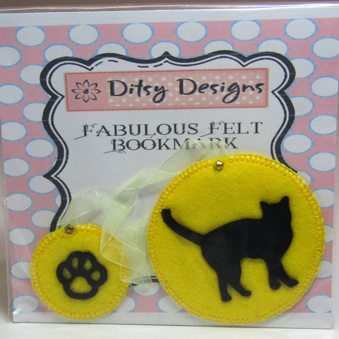 Yellow Felt Bookmark. Black Cat Motif, By Ditsy Designs - Parade Handmade