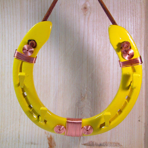 Yellow Key Holder Horseshoe with Copper Wire Work, By Liffey Forge - Parade Handmade