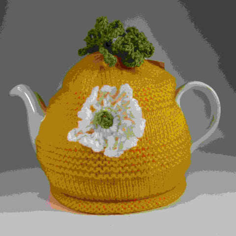 Yellow Tea Cosy With White Flower, by Shoreline - Parade Handmade