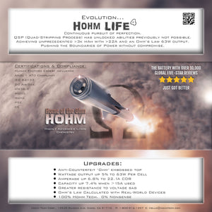 HOHM LIFE 3015 MAH | 22.1A CDR | 31.5A 18650 BATTERY BY HOHM TECH