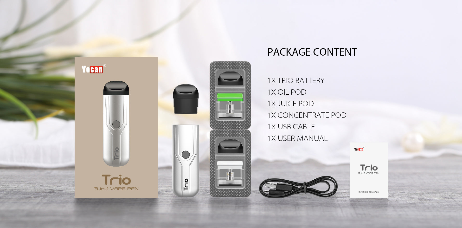 YOCAN TRIO 3 IN 1 VAPORIZER - (SALT NIC/CONCENTRATE/OIL) - LifestylE Cig