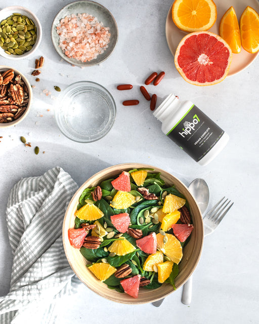 Hippo7 Vegan Complete isn't just a vegan-friendly supplement, it's the multivitamin formulated specifically for vegan and plant-based diets.  With 7 vitamins, minerals & nutrients. Vitamin B12, Vitamin D3, Omega 3s, Calcium, Iron, Zinc & Iodine.