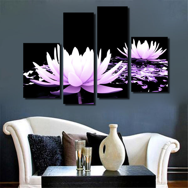 Purple Lotus High Definition Canvas  Residence Decoration Living Room Modern Frameless Painting
