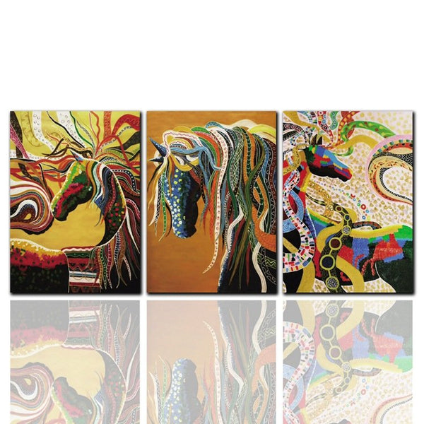 3Pcs Living Room Frameless Painting Abstract Colorful Animal Horse Decoration Canvas Painting