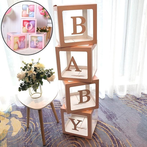 Cube Transparent Box Latex Balloon BABY LOVE Blocks Wedding Birthday Party Decoration (without balloons)