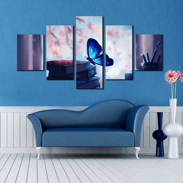 High Definition Spray Painting Five Paintings of Butterfly Canvas Home Decor