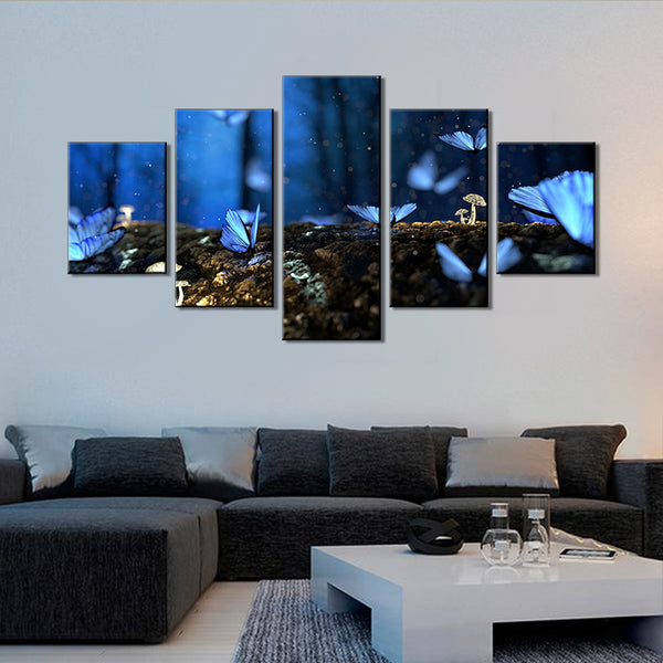 Wall Canvas Painting Butterfly Canvas Painting for Home Shop Bar Decor 5 PCS