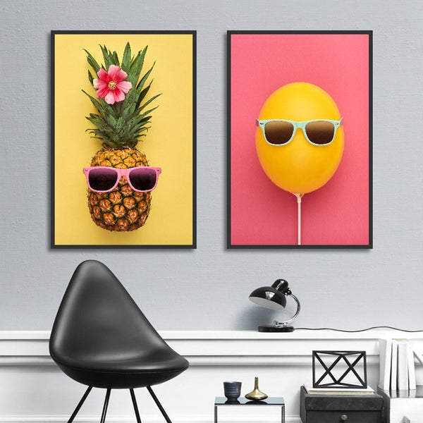 2pcs Canvas Painting Wall Art Pictures Decor Poster Pineapple No Frame Wall Picture