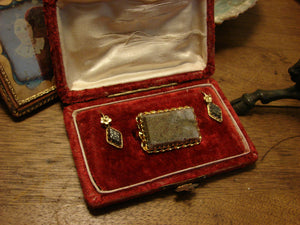 14k Gold 19th Century California Gold Rush gold-in-quartz Brooch & Earrings with original presentation box