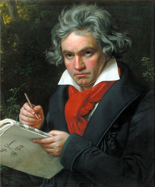 Image – Portrait of Lord Ludwig Van Beethoven in red scarf