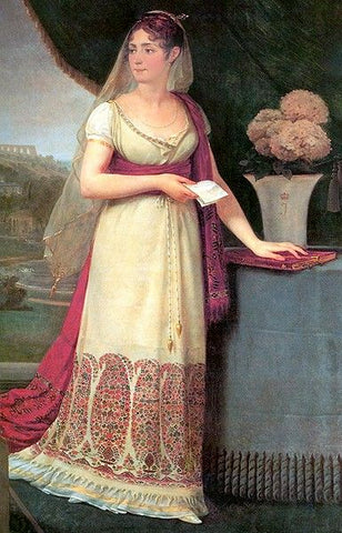 Empress Joséphine wearing Pashmina embroidered gown along with Pashmina Shawl